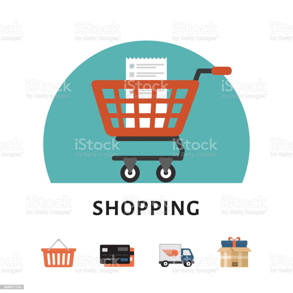 Shopping cart. Online shopping concept. Shopping icons. Flat style, vector illustration. vector art illustration
