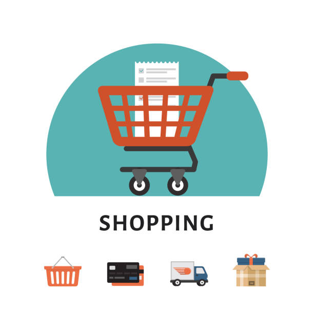 Shopping cart. Online shopping concept. Shopping icons. Flat style, vector illustration. Shopping cart. Online shopping concept. Shopping icons. Flat style, vector illustration. cart stock illustrations
