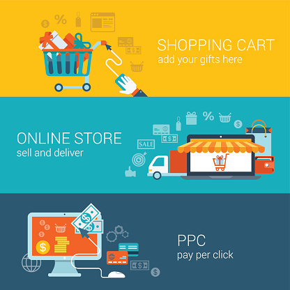 Shopping cart, online store, pay per click flat style concept. Vector icon banner template set. Gift boxes, laptop sunblind marquise, van, computer click money. Web, website infographics elements.