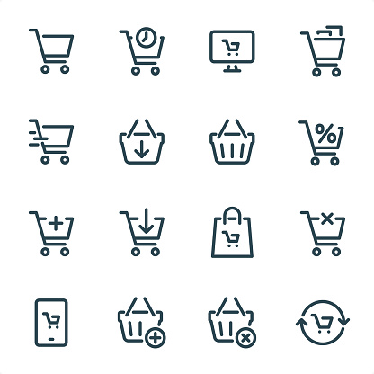 Shopping Cart - Pixel Perfect Unicolor line icons