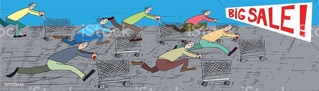 Shopping cart race vector art illustration
