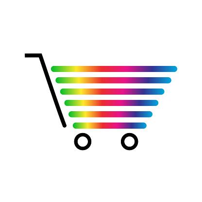 Shopping cart. Rainbow icon. Vector illustration.