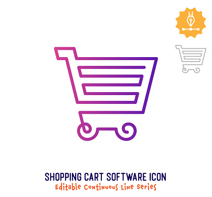 Shopping Cart Software Continuous Line Editable Icon