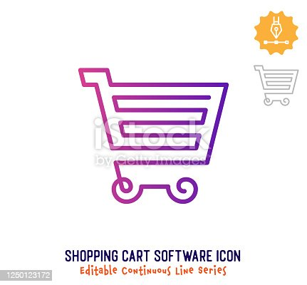istock Shopping Cart Software Continuous Line Editable Icon 1250123172
