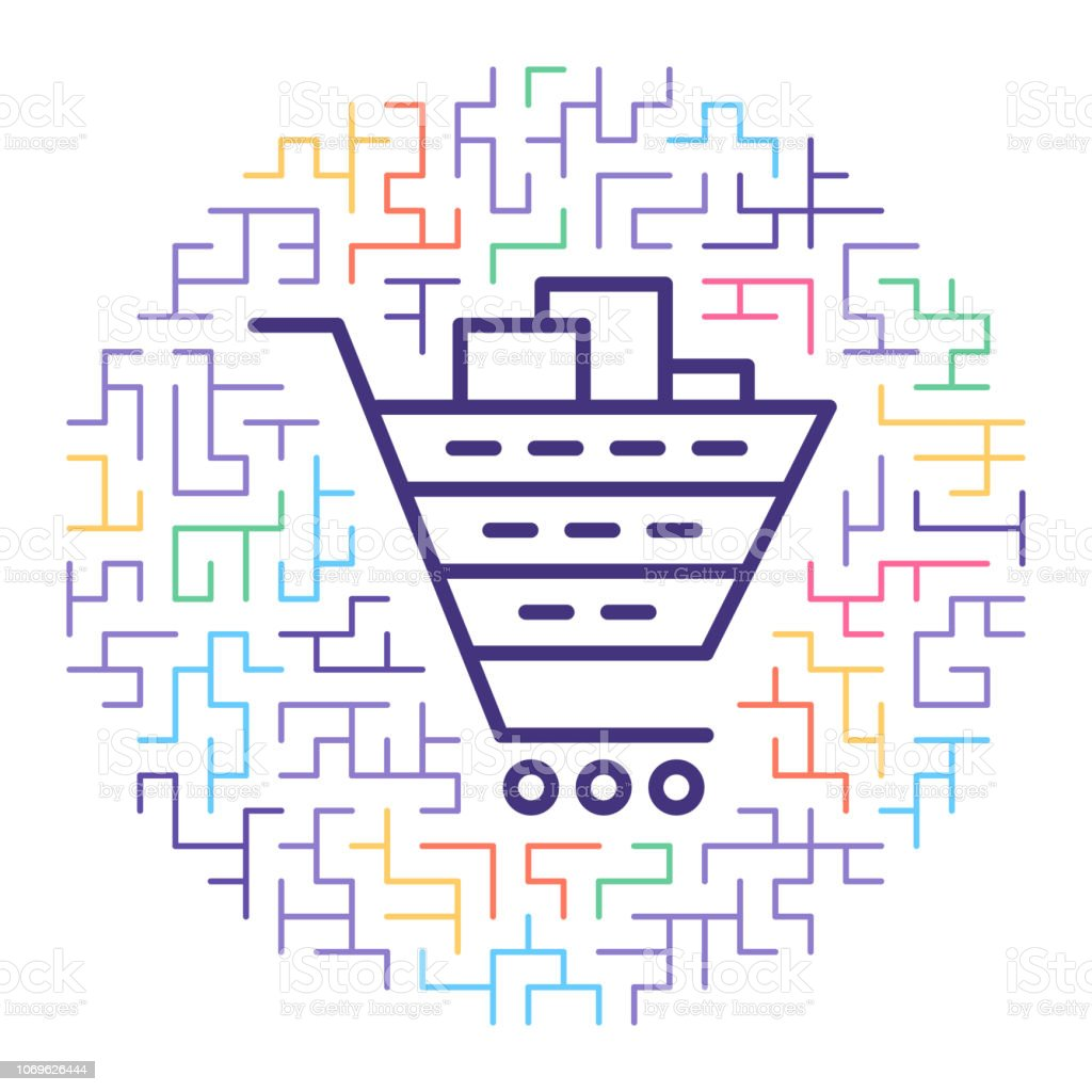 Shopping Cart Software Line Icon Illustration Stock Vector Art & More  Images of Abstract