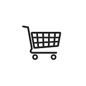 Shopping cart vector icon, supermarket trolley pictogram, flat simple outline sign design, linear thin line illustration isolated on white background