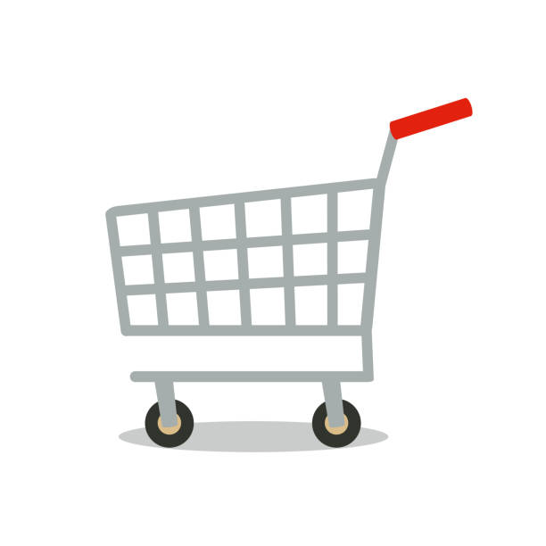 stockillustraties, clipart, cartoons en iconen met shopping cart vector pictogram. - winkelwagentje