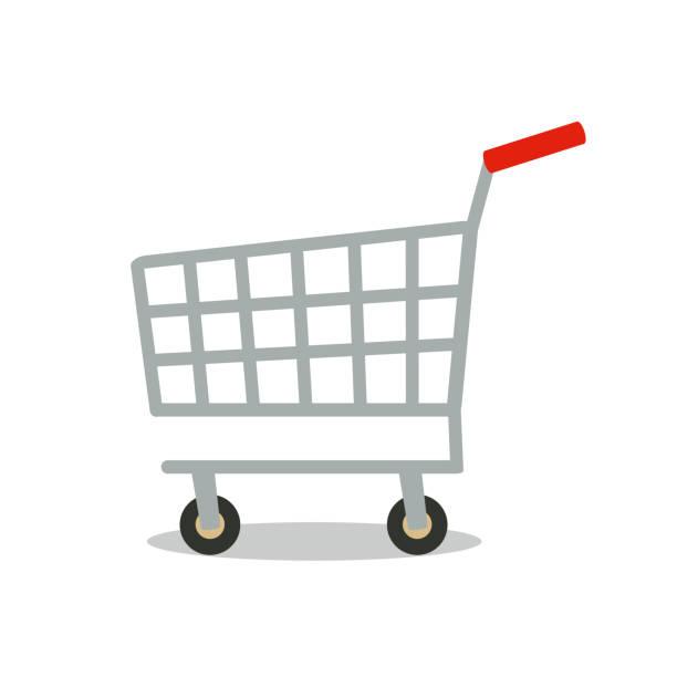 shopping cart vector icon. - koszyk sklepowy stock illustrations