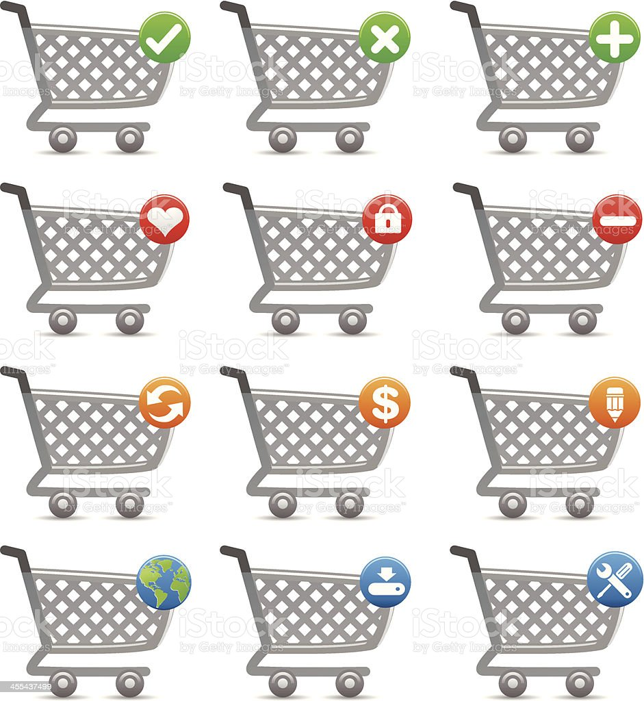 shopping cart vector icons royalty-free shopping cart vector icons stock vector art & more images of buy - single word