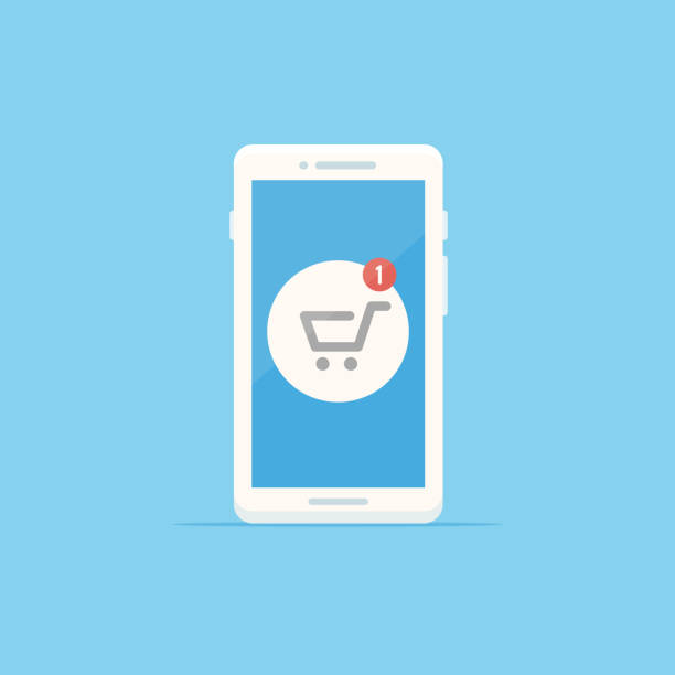 Shopping Cart White smartphone with shopping cart icon showing one item notification vector illustration in flat style online shopping stock illustrations