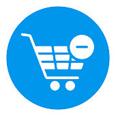 istock Shopping cart white glyph icon with minus sign 1338316680