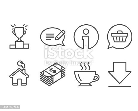 Shopping Cart Winner Podium And Message Icons Coffee Usd Currency And Downloading Signs Stock Vector Art & More Images of Award Ribbon 965142500