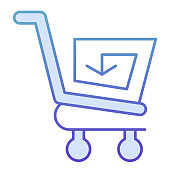 Shopping cart with arrow flat icon. Reload shopping trolley vector illustration isolated on white. Market cart with spiral arrow gradient style design, designed for web and app. Eps 10