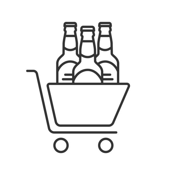 Shopping cart with beer bottles icon vector art illustration