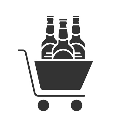 Shopping cart with beer bottles icon