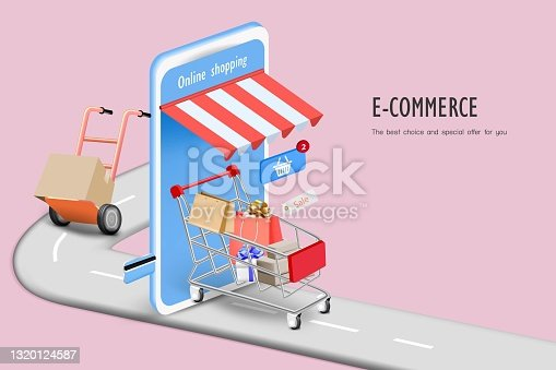istock Shopping cart with box 1320124587