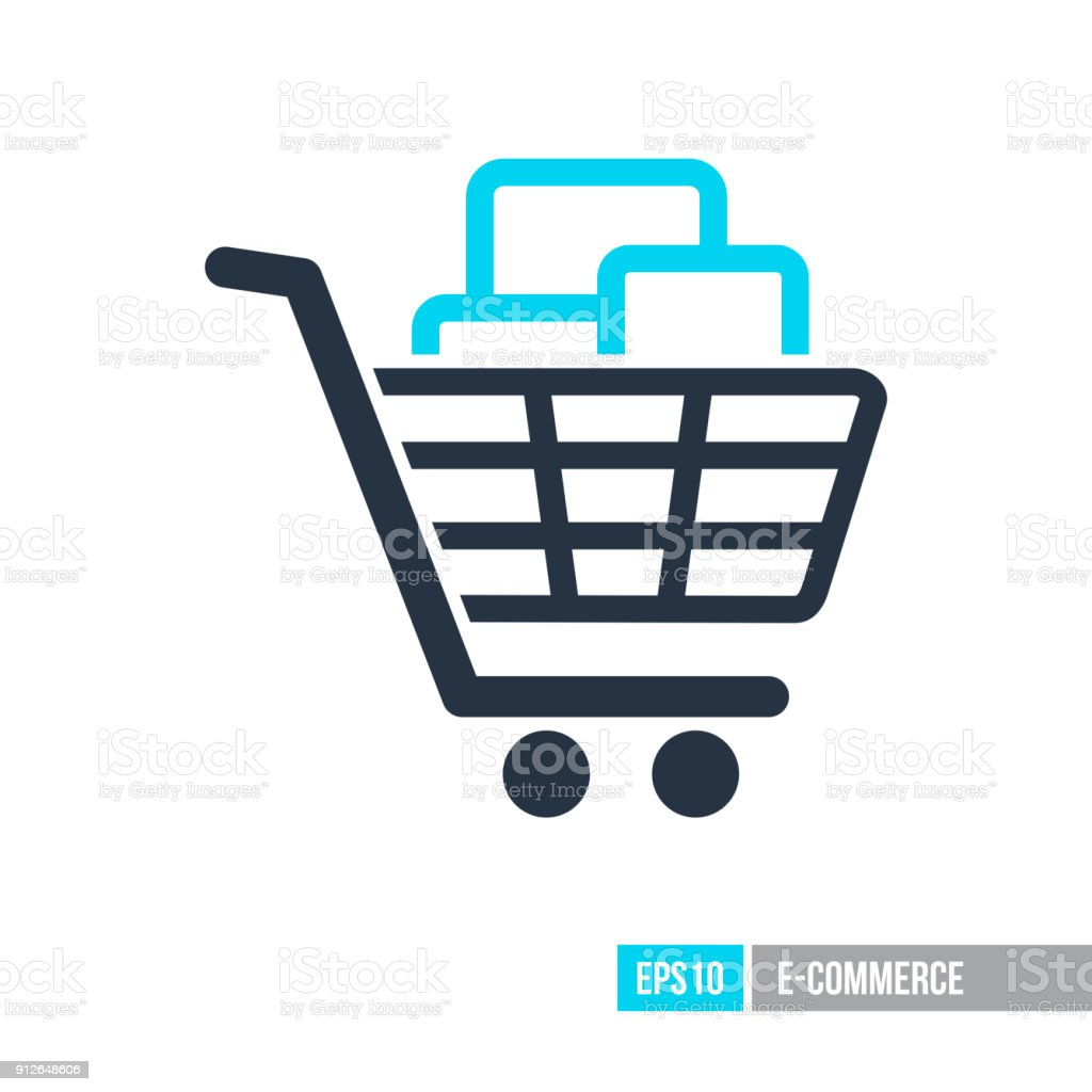 Shopping cart with boxes icon vector art illustration