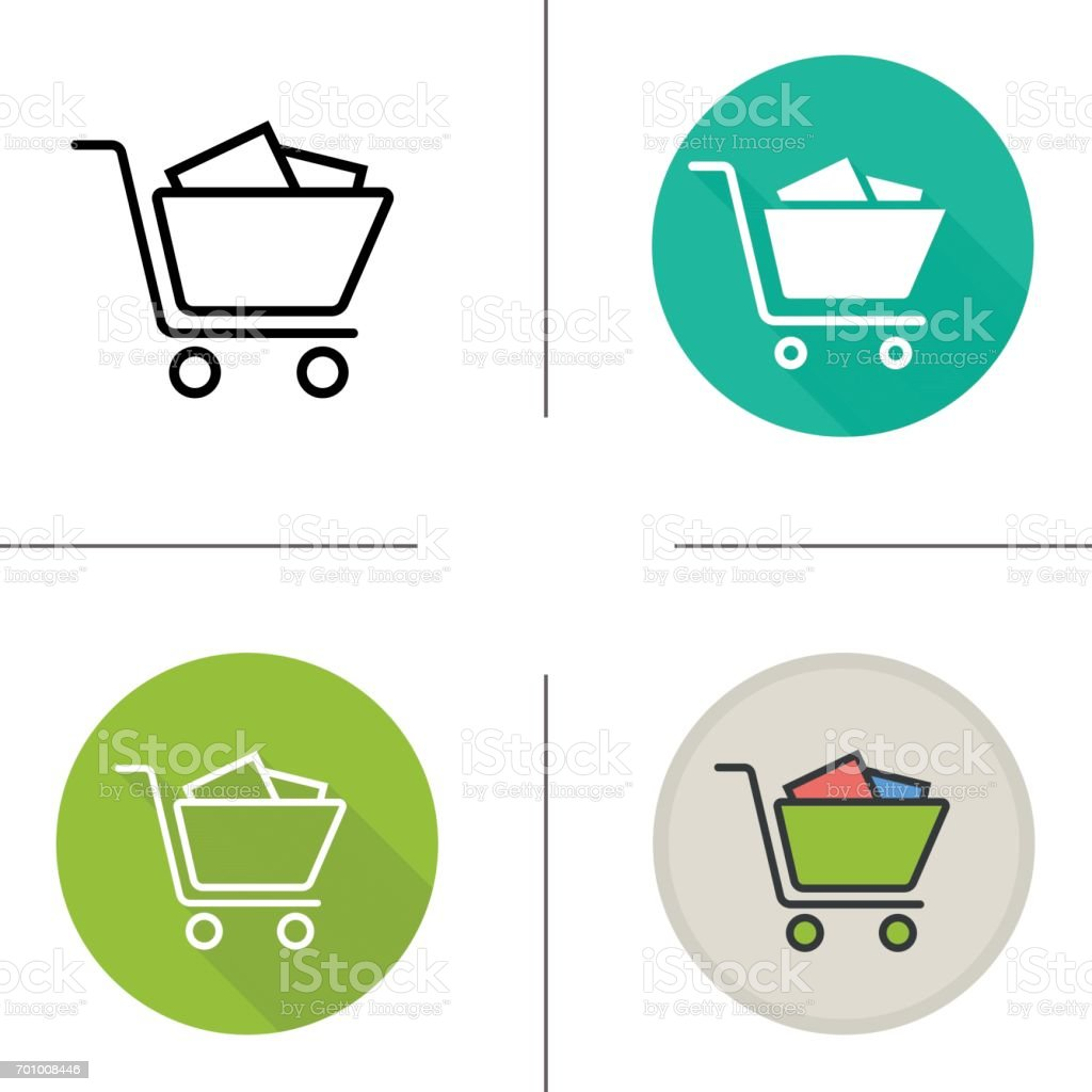 Shopping cart with boxes icons vector art illustration