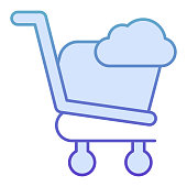 Shopping cart with cloud flat icon. Shopping trolley storage vector illustration isolated on white. Online shopping gradient style design, designed for web and app. Eps10