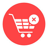 istock Shopping cart with cross sign white glyph icon 1338316712