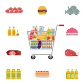 Shopping cart with food and drinks. Flat style vector illustration.