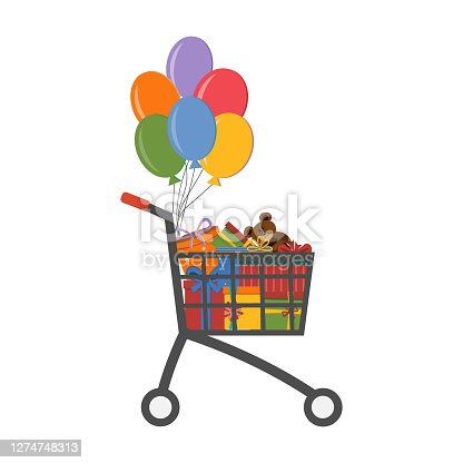 Set of gift boxes with bows in shopping cart, vector
