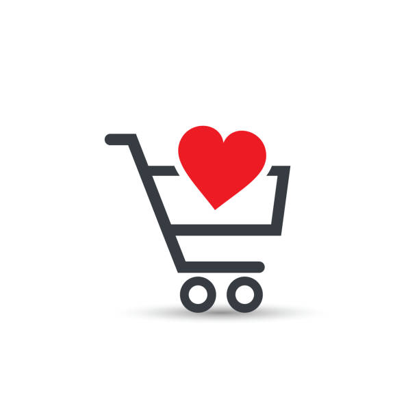Shopping cart with heart vector icon. Shopping cart with heart vector icon. E-commerce internet symbol. affectionate stock illustrations