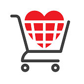 Red heart symbol in the shopping cart. Files included: Vector EPS 10, HD JPEG 4000 x 4000 px
