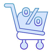 Shopping cart with persent flat icon. Market discount vector illustration isolated on white. Market cart offer gradient style design, designed for web and app. Eps10