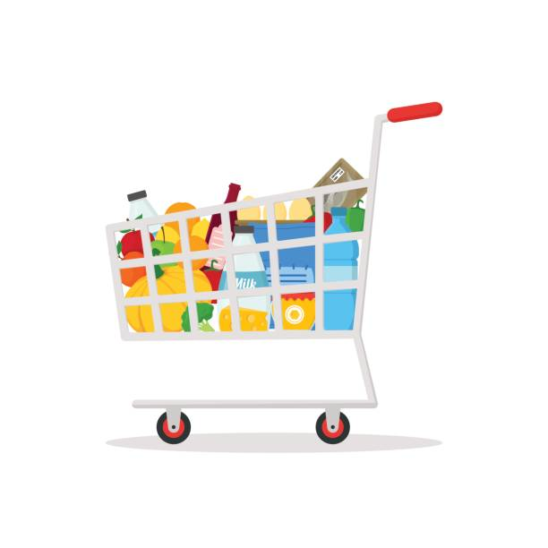 illustrazioni stock, clip art, cartoni animati e icone di tendenza di shopping cart with products. vector - pieno