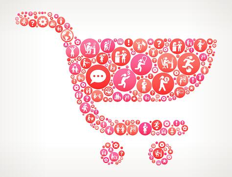 Shopping Cart Women Girl Power Icons Vector Background