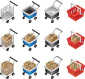 Isometric Shopping Carts Collection