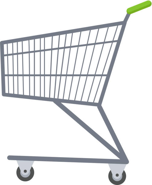 shopping carts icon flat style. metal  trolley, for purchases in - metallwarenkorb stock-grafiken, -clipart, -cartoons und -symbole