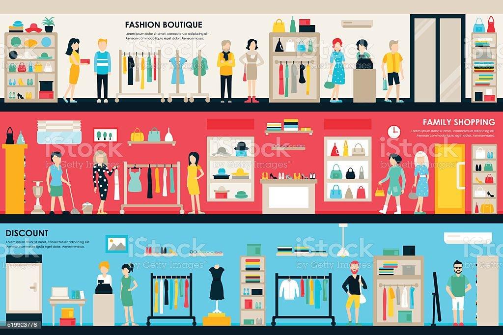 Shopping Center and Boutique Rooms flat shop interior concept web
