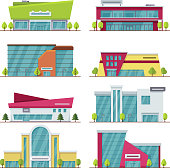 Shopping center, mall and supermarket modern flat vector buildings. Supermarket city and architecture building mall center illustration