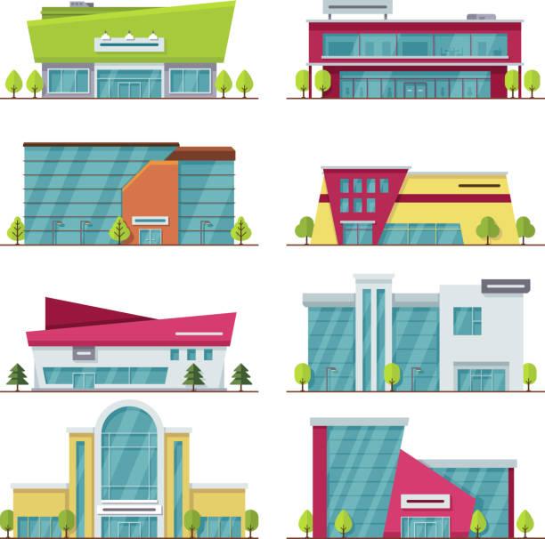 ilustrações, clipart, desenhos animados e ícones de edifícios de vetor plana moderno centro comercial, shopping e supermercado - shopping