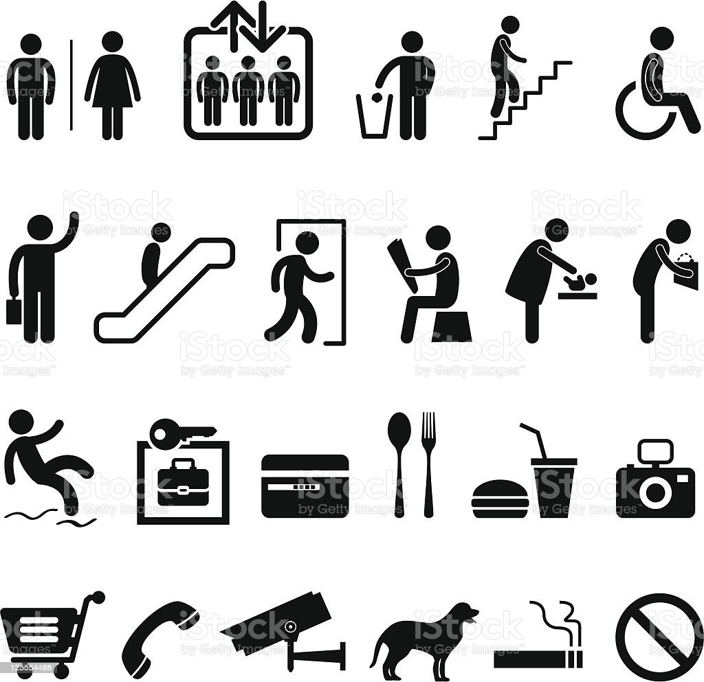 Shopping Center Public Sign Icon Symbol vector art illustration