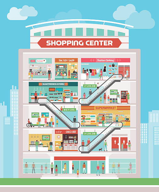 shopping center - modeboutique stock-grafiken, -clipart, -cartoons und -symbole