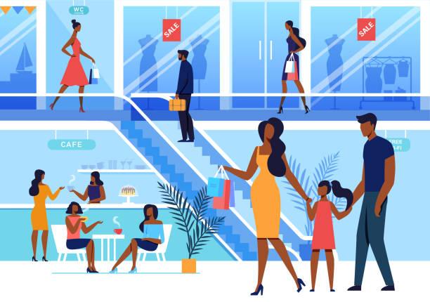 ilustrações, clipart, desenhos animados e ícones de o centro comercial visita a ilustração lisa do vetor - shopping