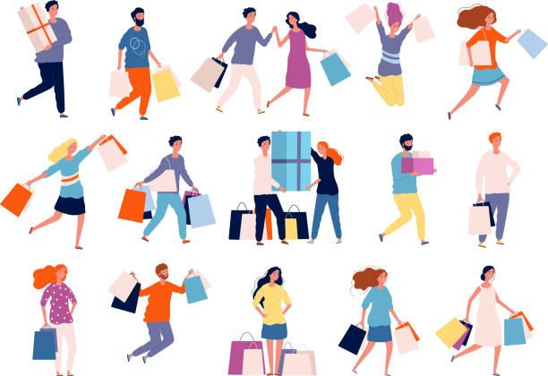 znaki zakupów. ludzie na rynku boutique kupujących zniżki szalonych osób wektor zakupy - handel detaliczny stock illustrations