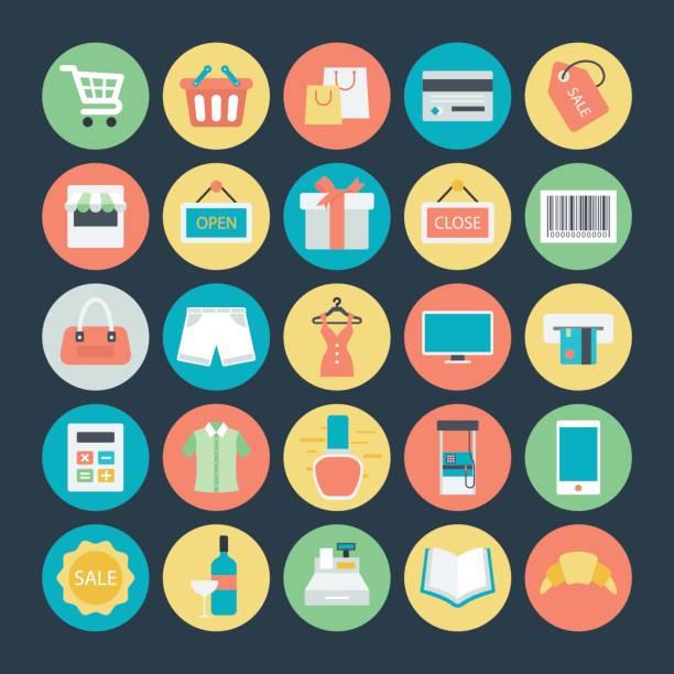 Bекторная иллюстрация Shopping Colored Vector Icons 1