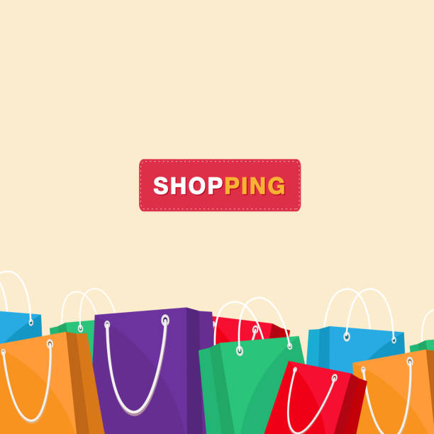 illustrazioni stock, clip art, cartoni animati e icone di tendenza di shopping colorful shopping bag background vector image - acquisti