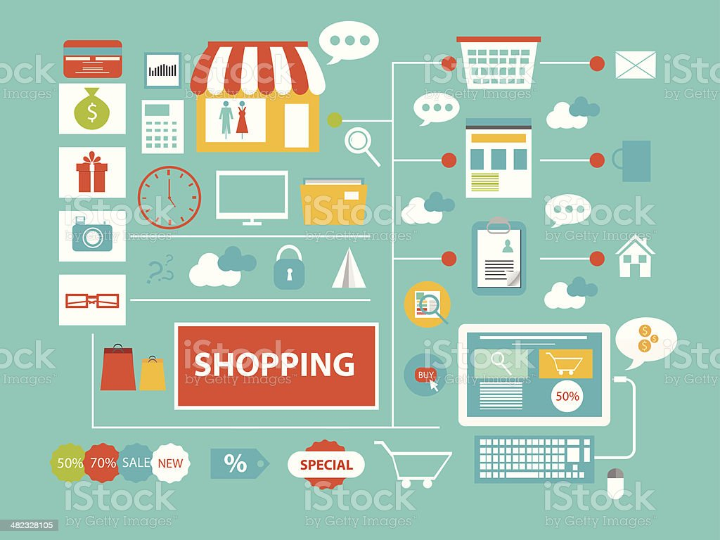 Shopping communication concept vector art illustration