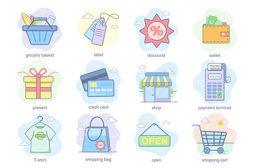 Shopping concept flat icons set