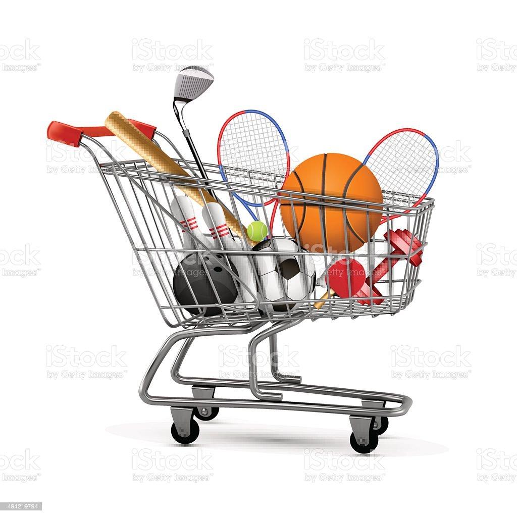bd5659460 Conceito de compras. Carrinho de compras com o desporto equipamentos no  fundo da loja vetor