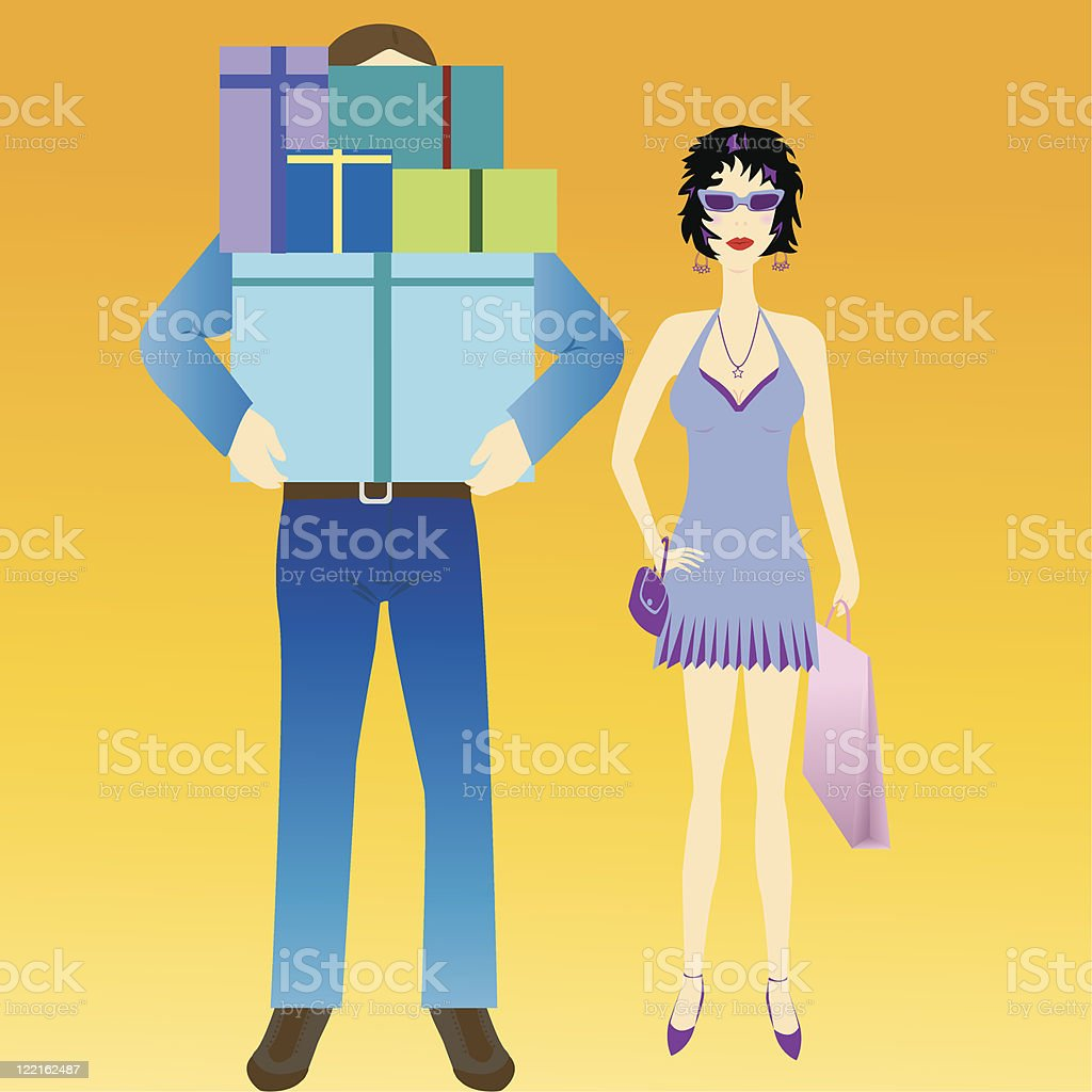 Shopping Couple royalty-free stock vector art