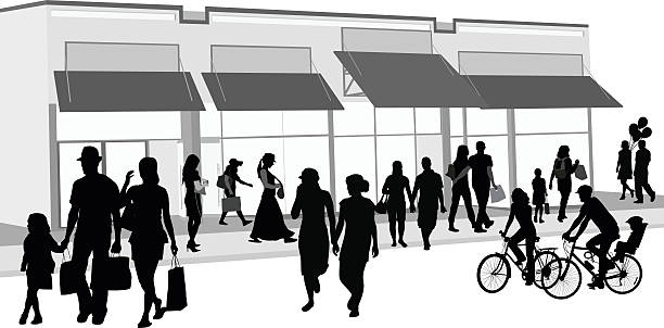 shopping crowd outdoors - architecture silhouettes stock illustrations