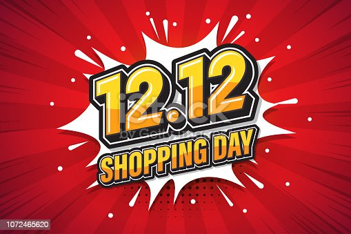 12.12 Shopping day font expression pop art comic speech bubble. Vector illustration