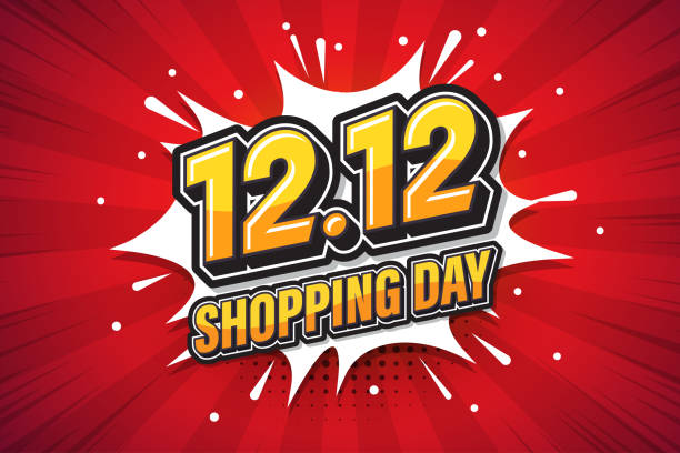 illustrazioni stock, clip art, cartoni animati e icone di tendenza di 12.12 shopping day font expression pop art comic speech bubble. vector illustration - sales