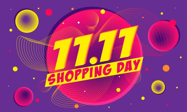 ilustrações, clipart, desenhos animados e ícones de 11,11 poster da venda do dia da compra ou projeto do insecto, ilustração do vetor - dia do cliente